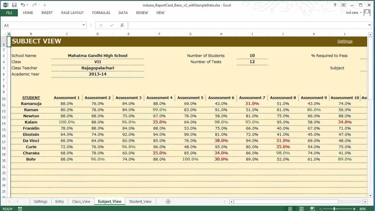 Report Card (Basic) - Excel Template Intended For Result Card Template