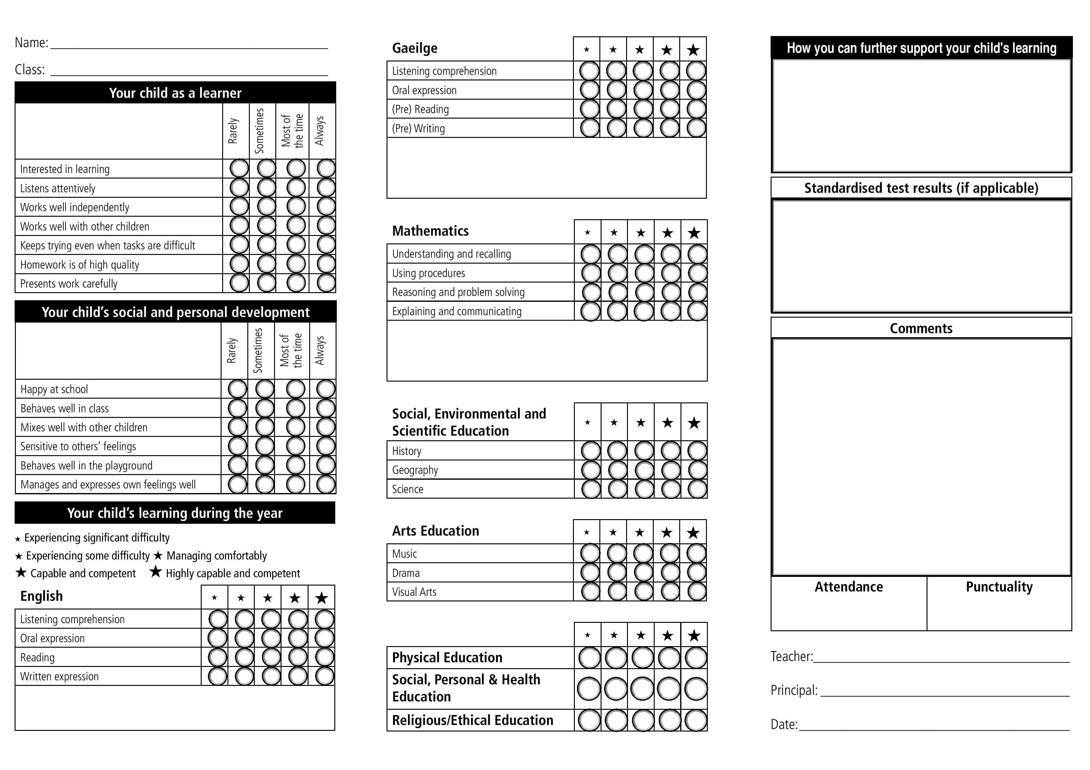Report Card Template - 33+ Free Word, Excel, Documents with Homeschool Report Card Template
