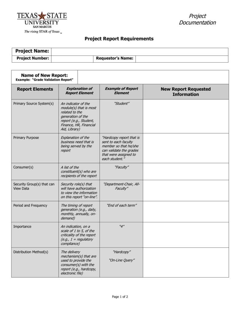 Report Requirements Template For Report Requirements Template