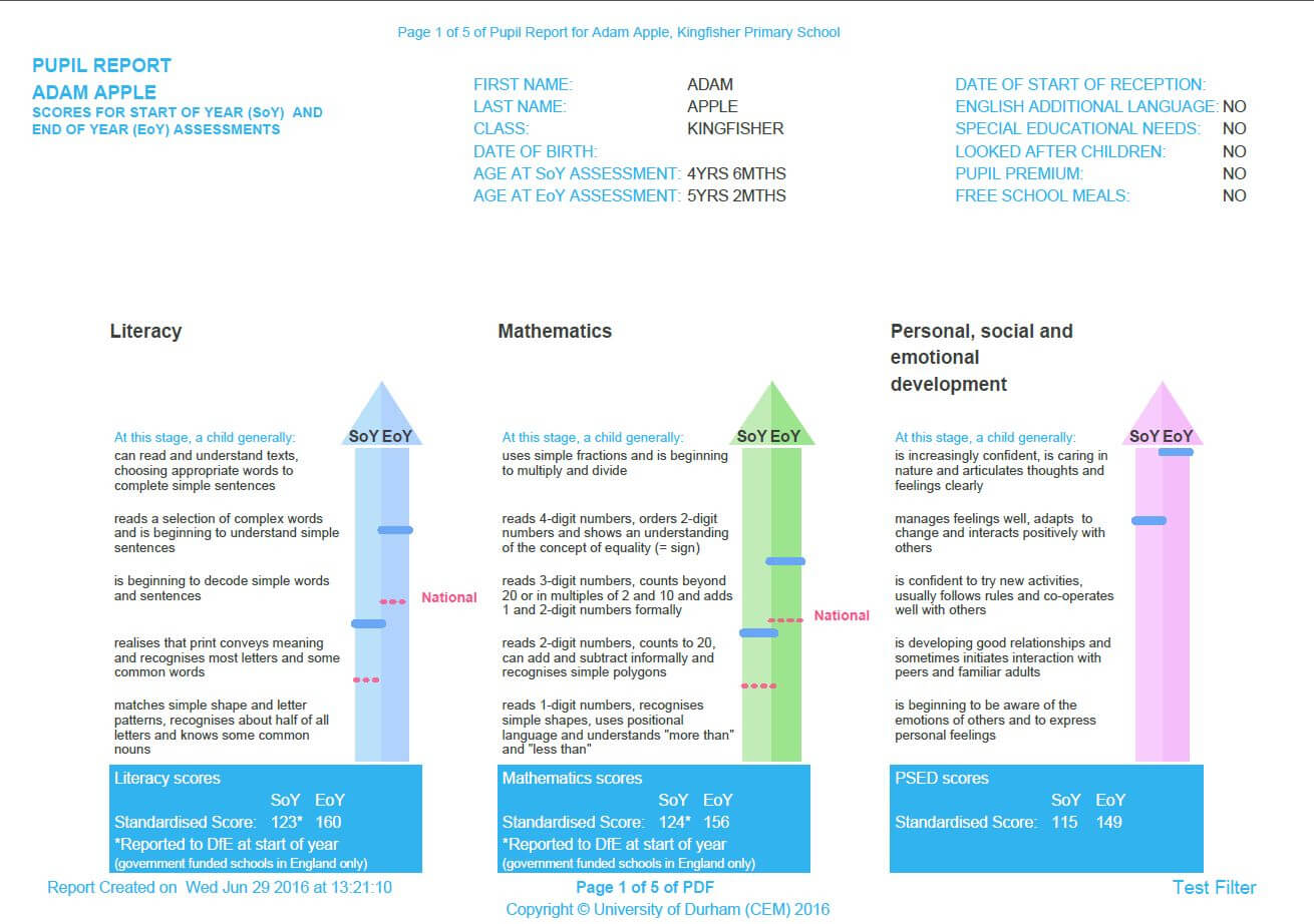 Reporting & Feedback - Cem with Pupil Report Template