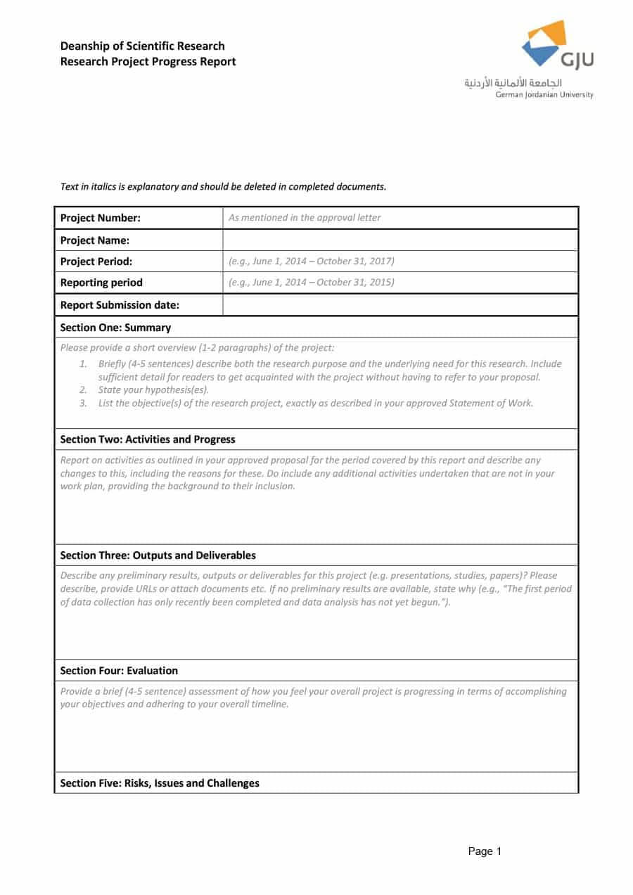 Research Project Progress Report Template - Atlantaauctionco Regarding Research Project Progress Report Template