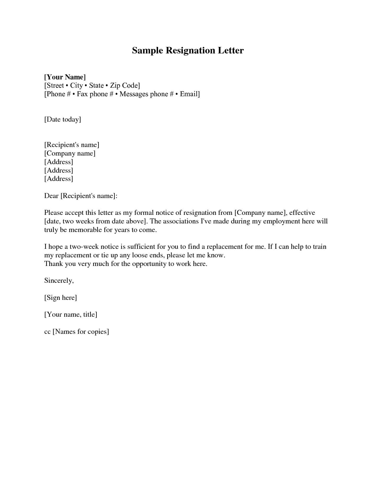 Resignation Letter 2 Weeks Notice Resignation Letter within 2 Weeks Notice Template Word