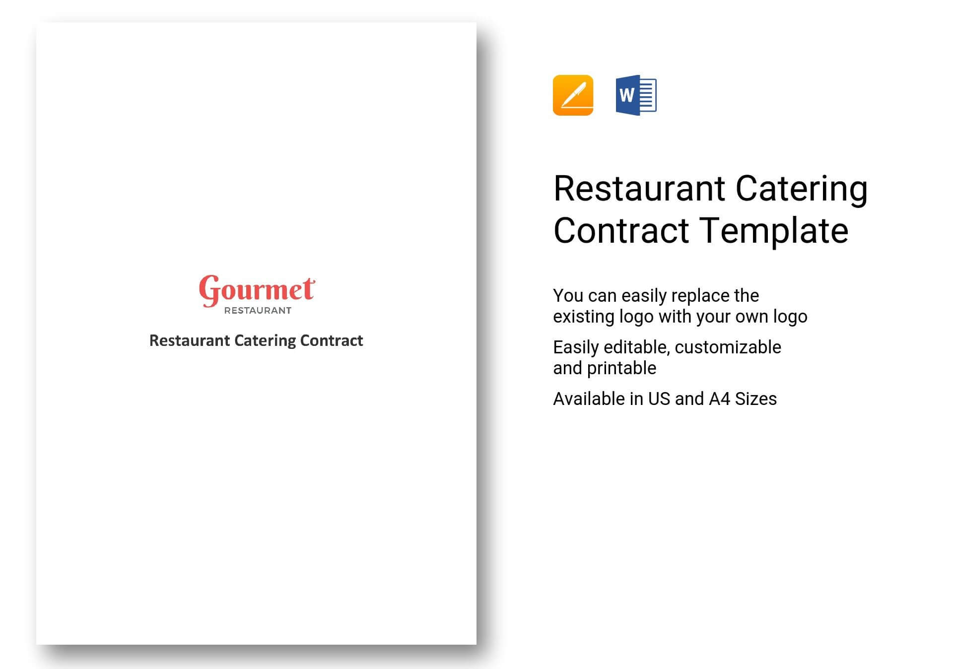 Restaurant Catering Contract Template In Word, Apple Pages with Catering Contract Template Word