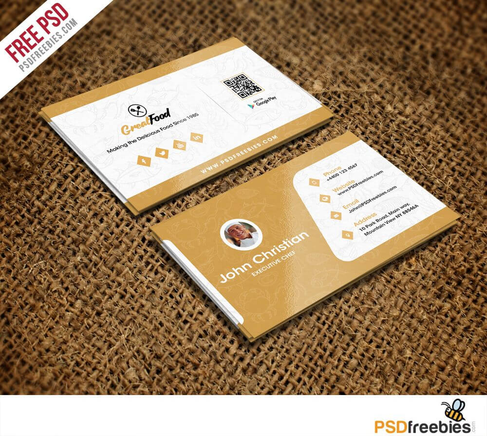 Restaurant Chef Business Card Template Free Psd | Psd Print In Restaurant Business Cards Templates Free