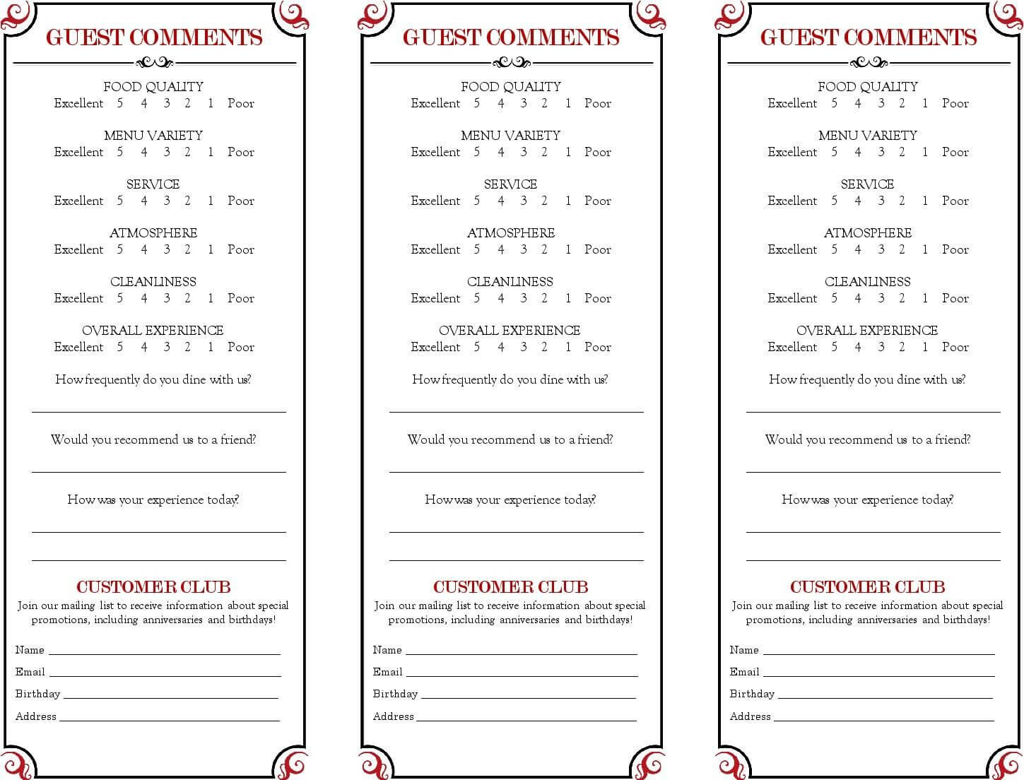 Restaurant Comment Card - Google Search In 2019 | Menu with regard to Restaurant Comment Card Template