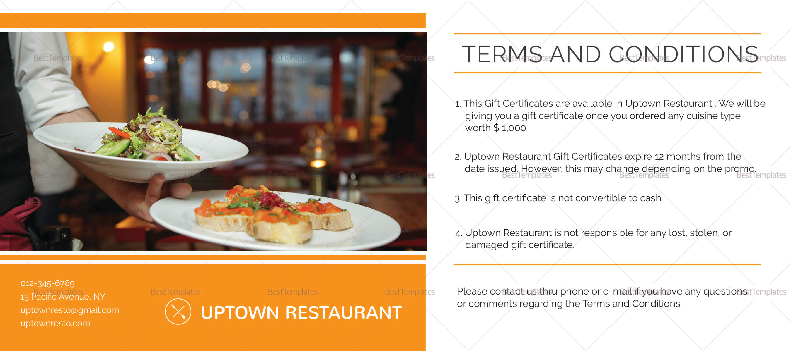 Restaurant Gift Certificate Template With Regard To Restaurant Gift Certificate Template
