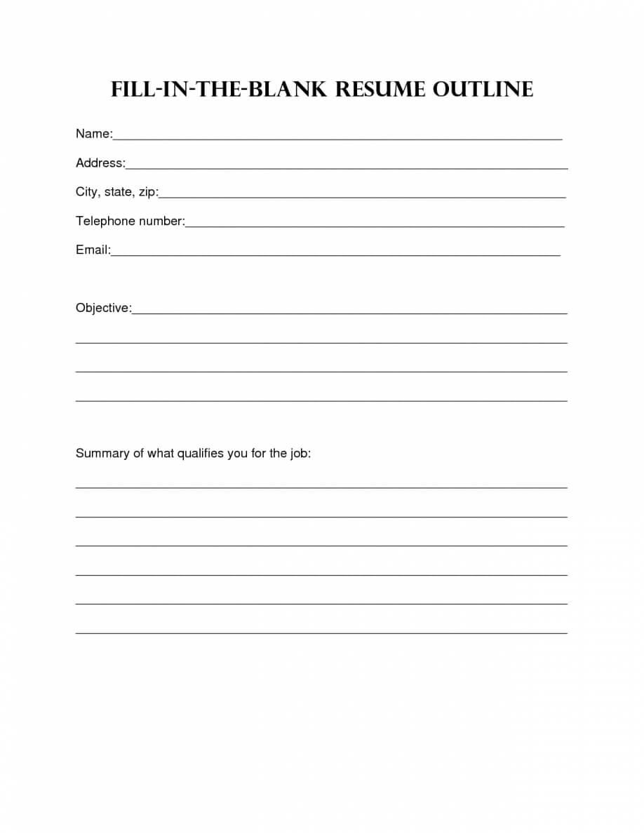 Resume Design. Blank Resume Template Sample Blank Resume intended for Free Bio Template Fill In Blank