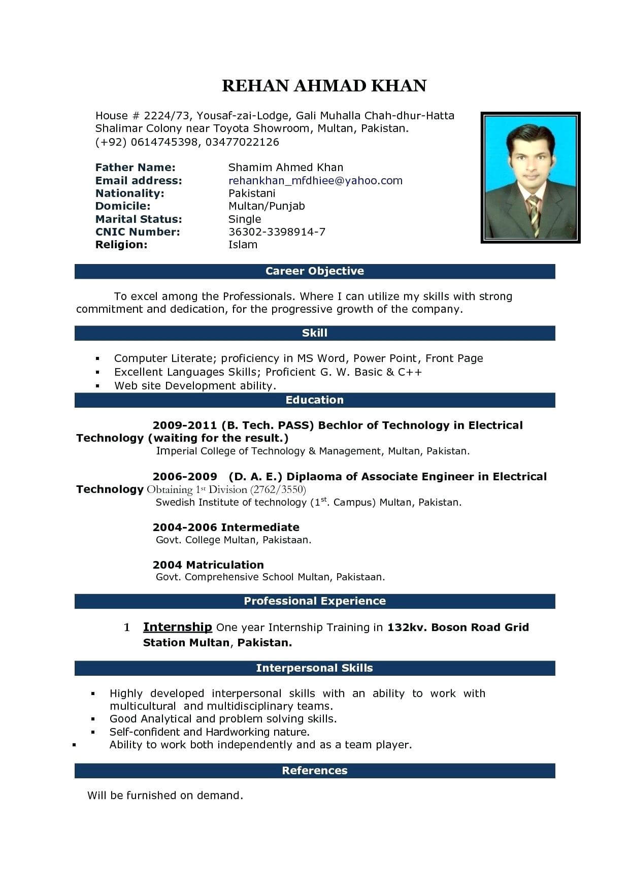 Resume: Resume Template On Microsoft Word 2010 In Resume Templates Word 2010