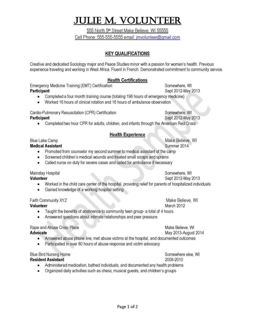 Resume Sample: Volunteer Resume Template New Sample Student within Community Service Template Word