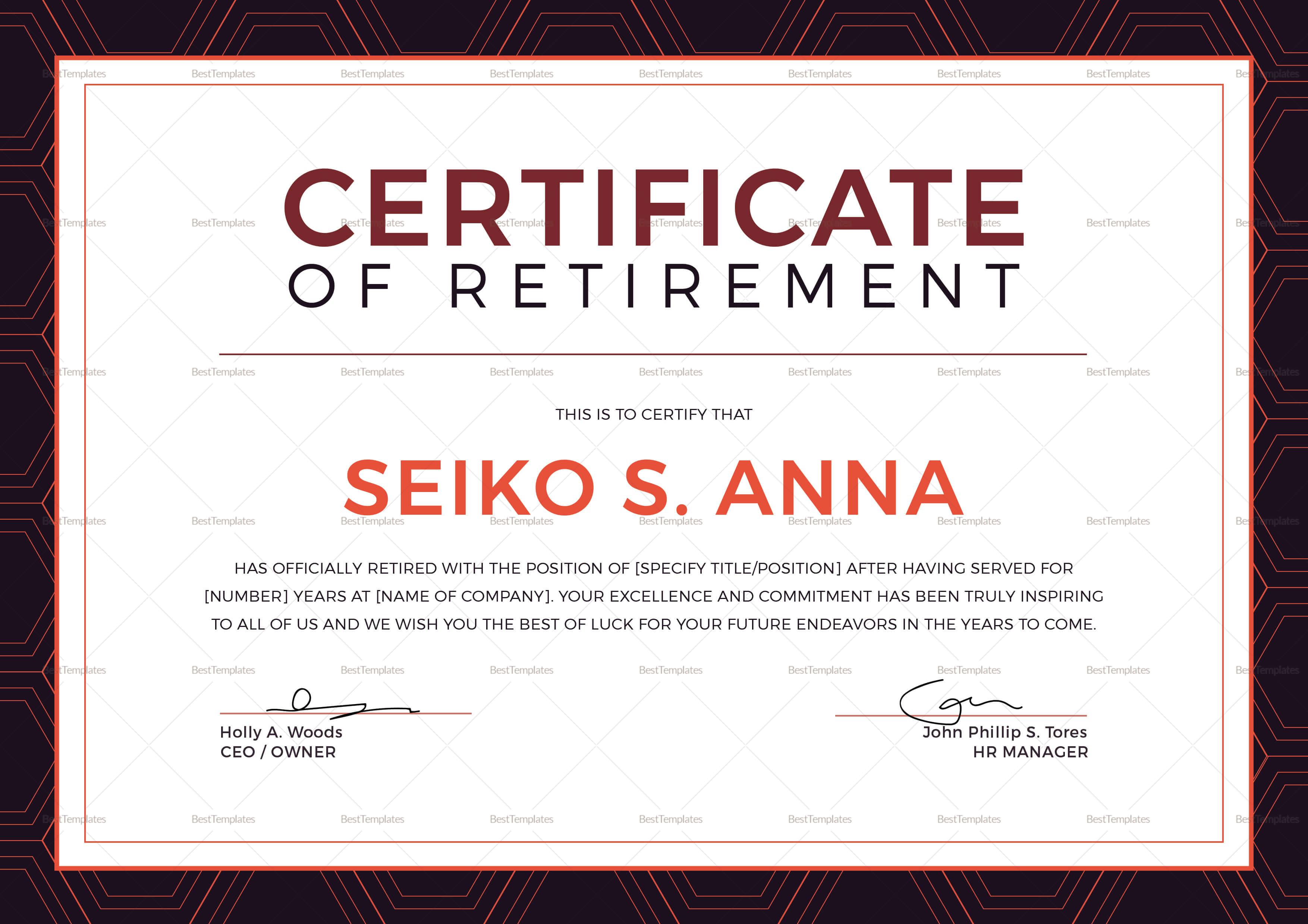 Retirement Certificate Template In Retirement Certificate Template