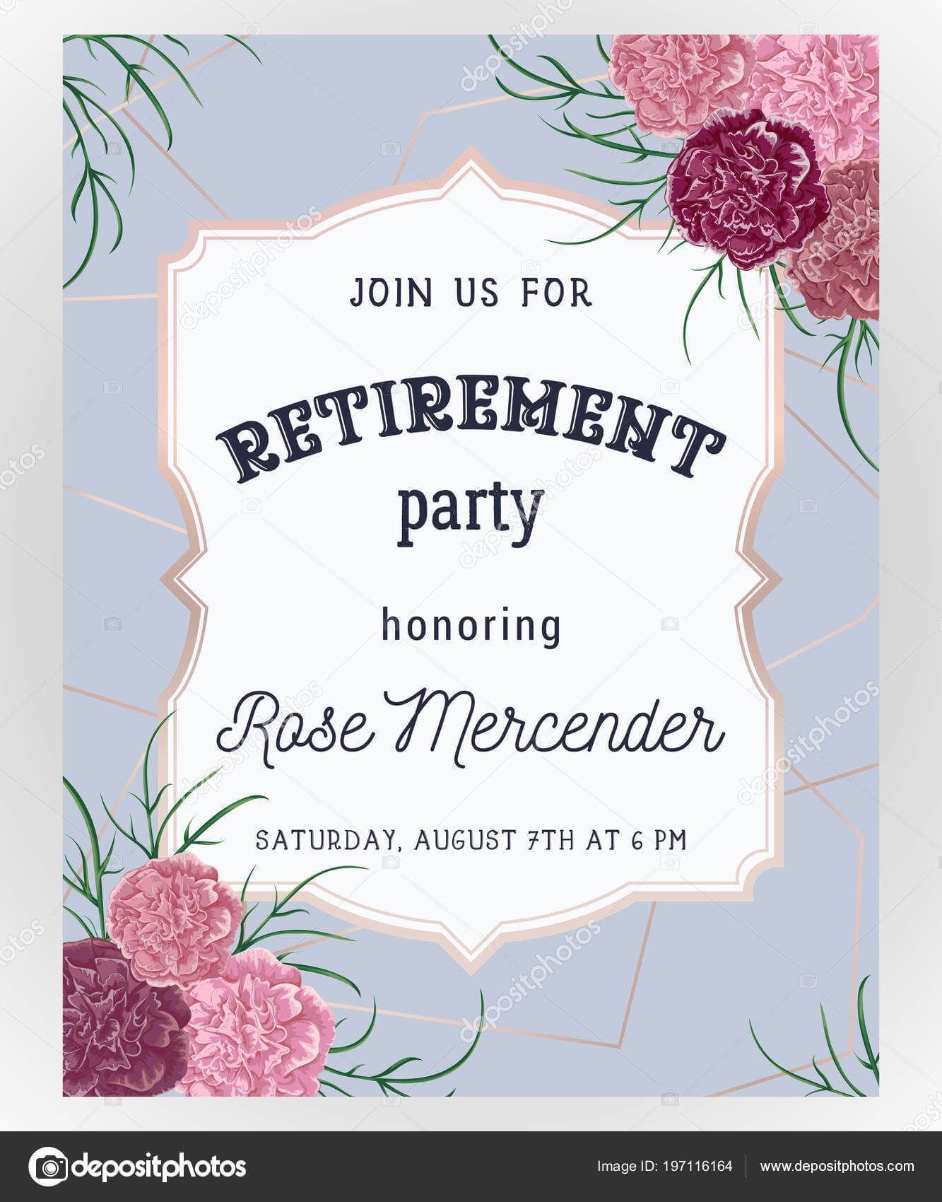 Retirement Party Invitation Design Template Rose Gold with Retirement Card Template