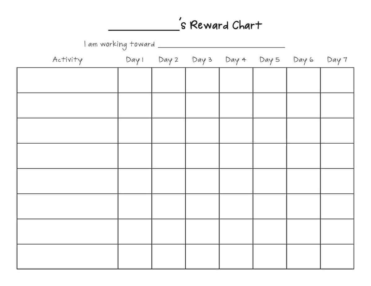Reward Chart Templates - Word Excel Fomats Throughout Reward Chart Template Word