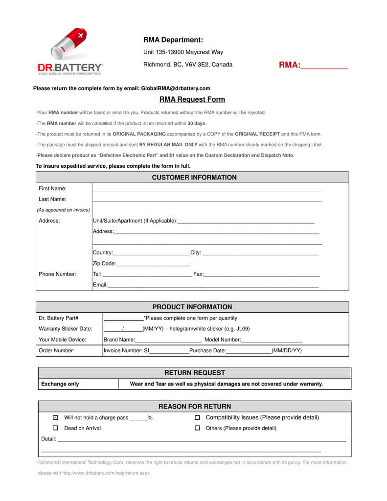 Rma Department: Rma:______ Rma Request Form regarding Rma Report Template