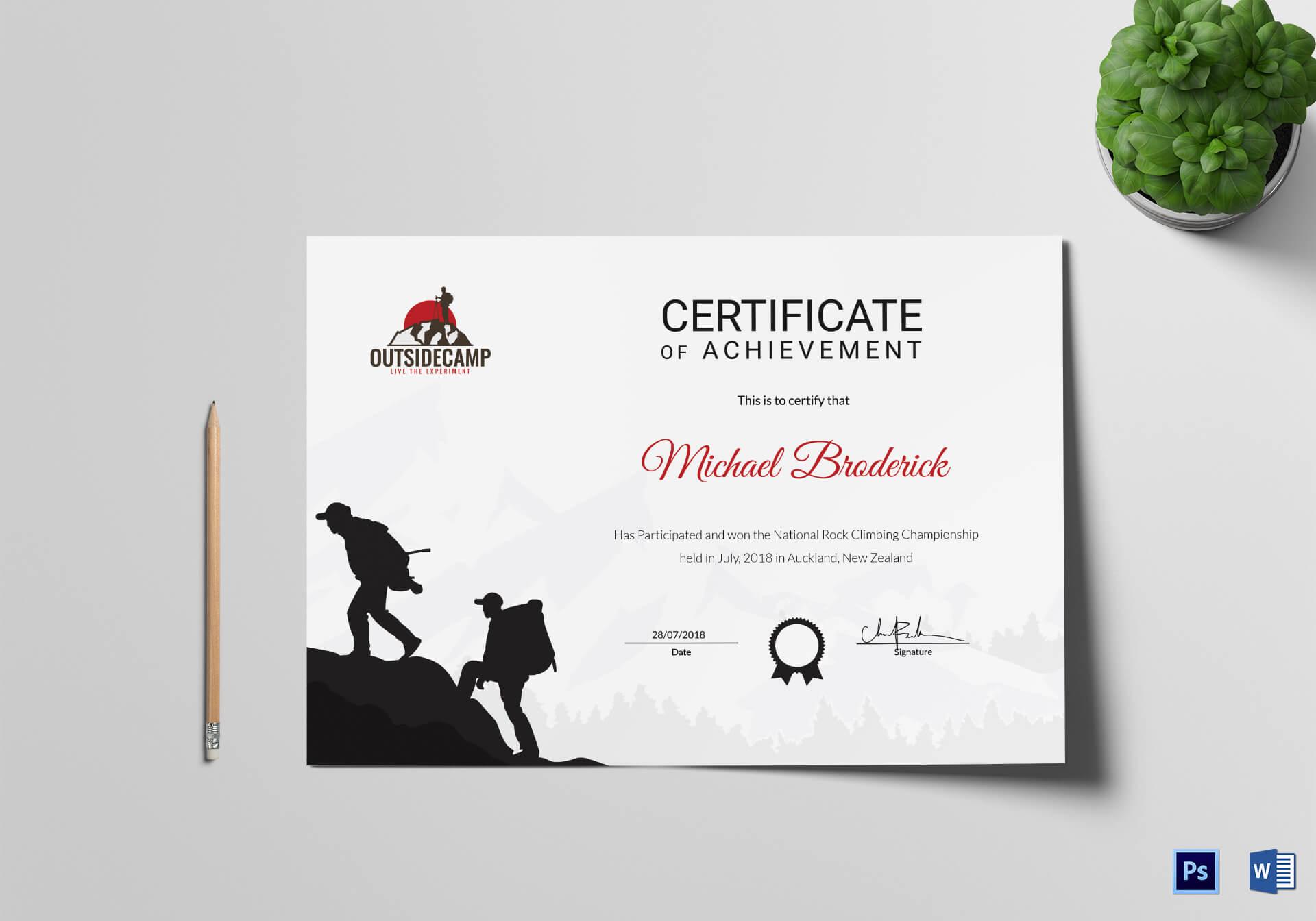 Rock Climbing Participation Certificate Template for Walking Certificate Templates