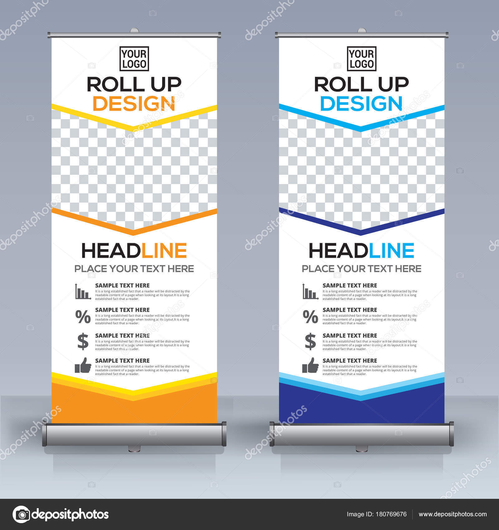 Roll Banner Design Template Vertical Abstract Background in Retractable Banner Design Templates