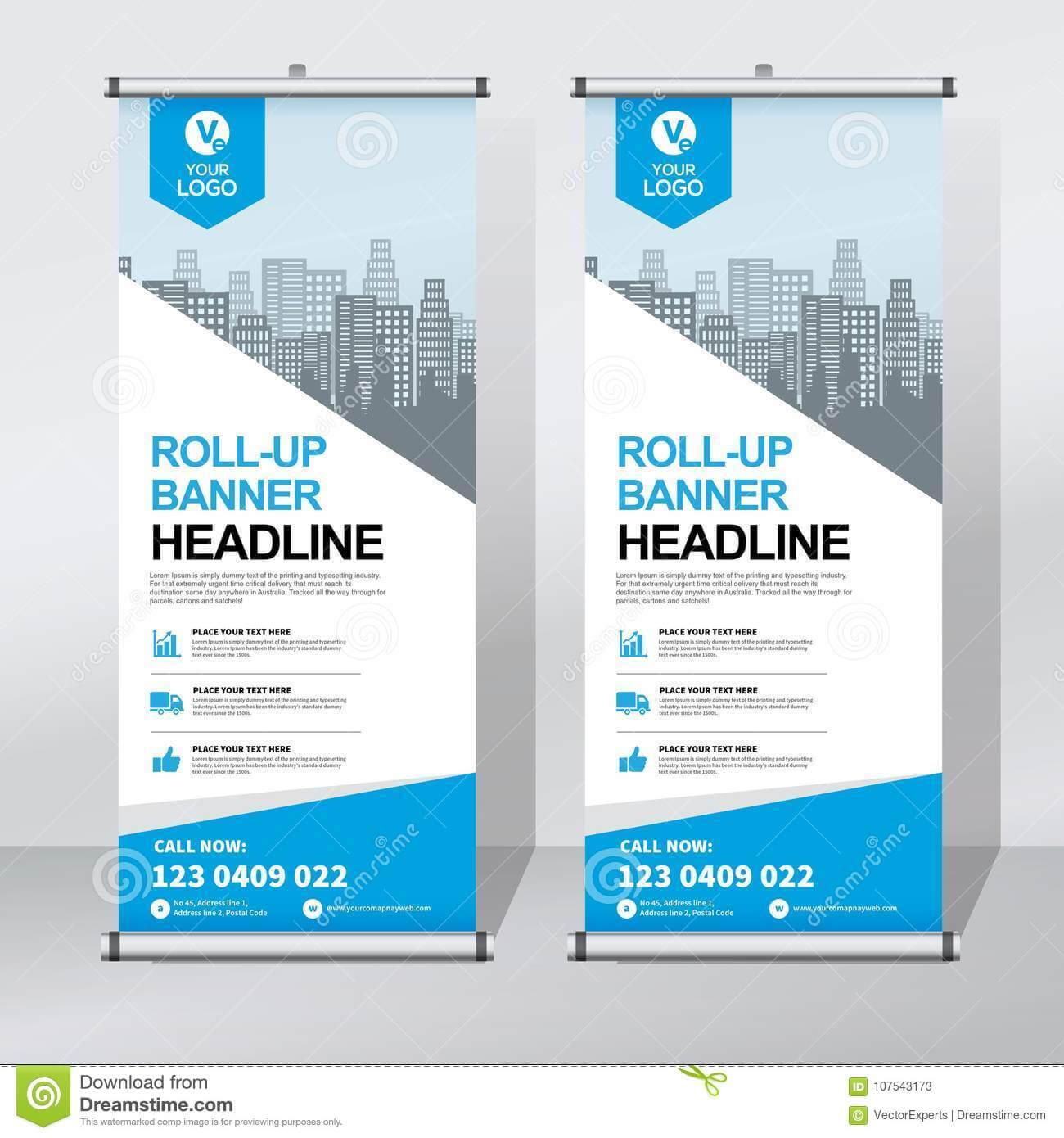 Roll Up Banner Design Template, Vertical, Abstract Intended For Pop Up Banner Design Template