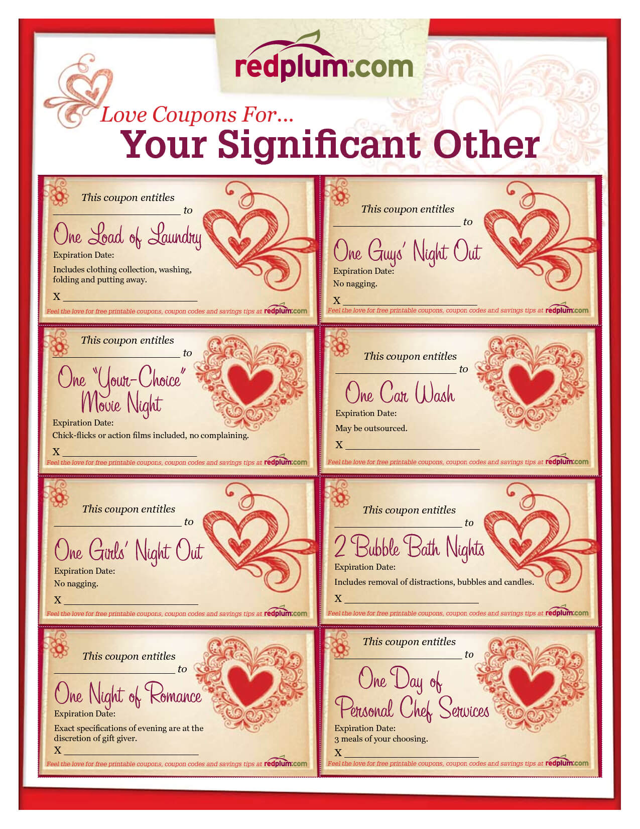 Romantic Love Coupon Template Printable | Love Coupons For Throughout Love Coupon Template For Word