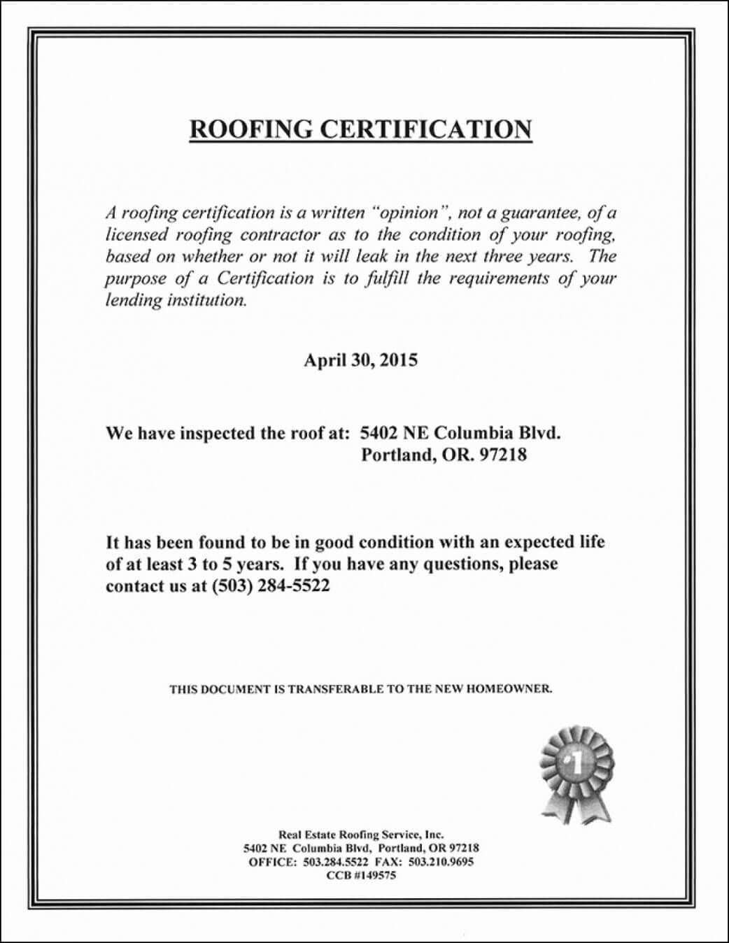 Roofing Certificate Of Completion Template Lovely Roof throughout Roof Certification Template