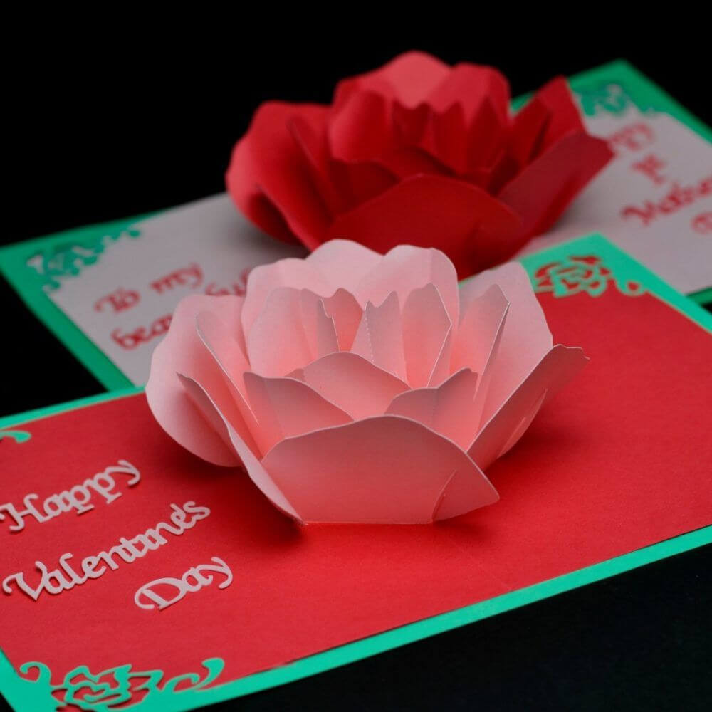 Rose Flower Pop Up Card Template | Pop Up Card Templates Regarding Diy Pop Up Cards Templates
