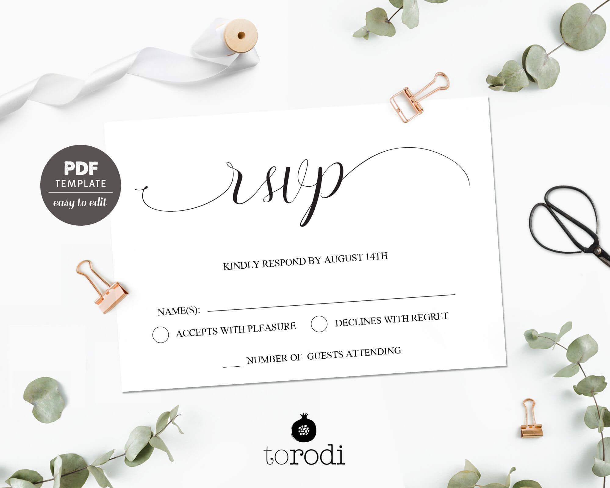 Rsvp Card Template. Wedding Rsvp Cards. Rsvp Postcard With Free Printable Wedding Rsvp Card Templates