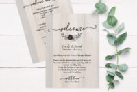 Rustic Wood Wedding Itinerary Template, Rustic Wedding Itinerary Rustic  Wedding Thank You Card Printable C4 inside Template For Wedding Thank You Cards