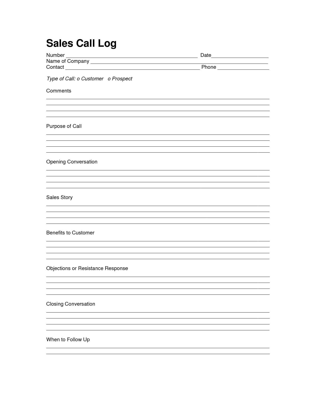 Sales Log Sheet Template | Sales Call Log Template | Call With Sales Call Reports Templates Free