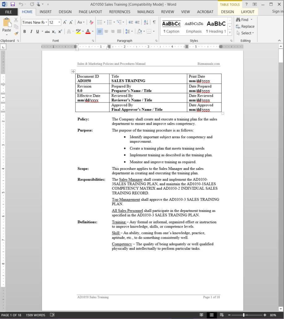 Sales Training Procedure | Ad1050 with regard to Training Manual Template Microsoft Word
