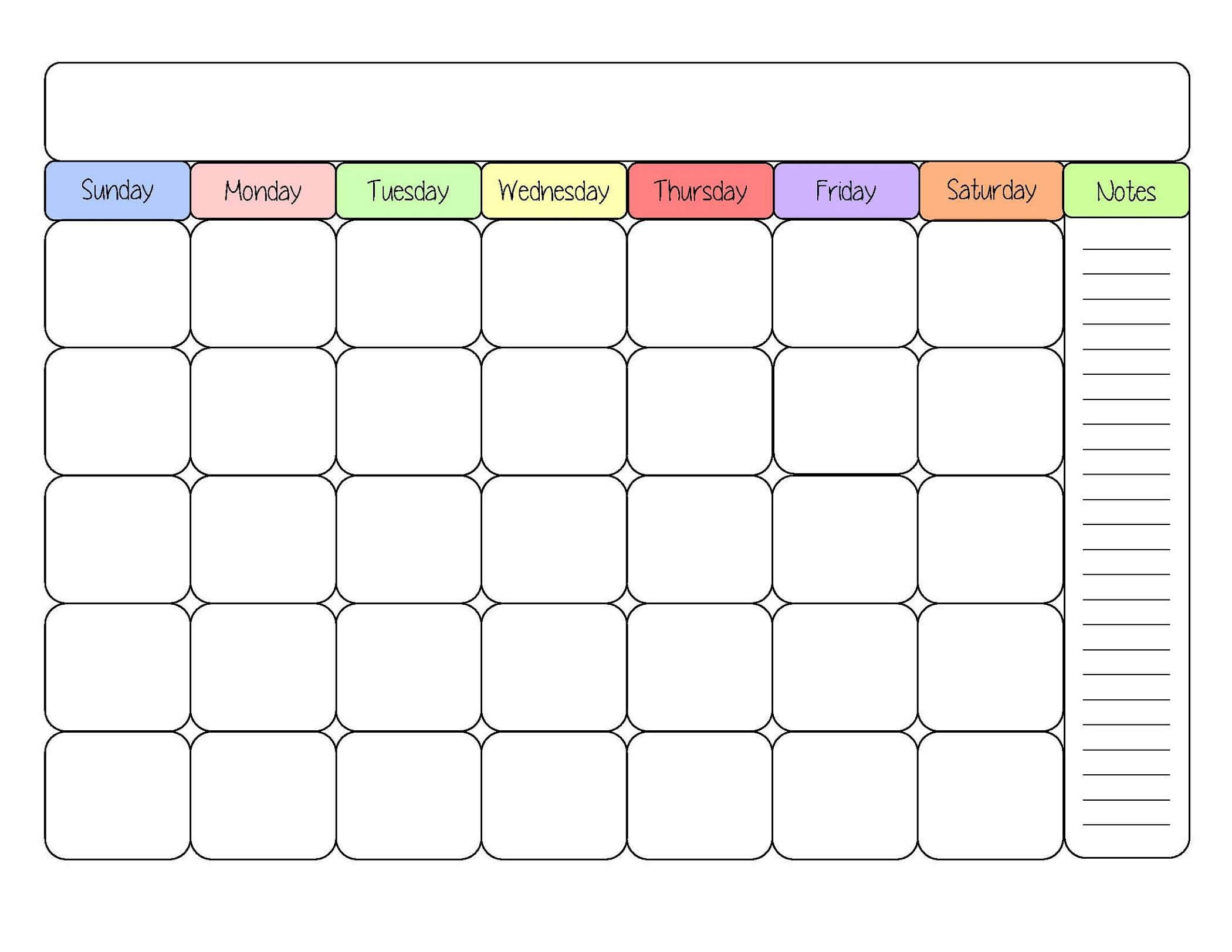 Sample Calendars To Print | Blank Monthly Calendar Template with Blank Activity Calendar Template