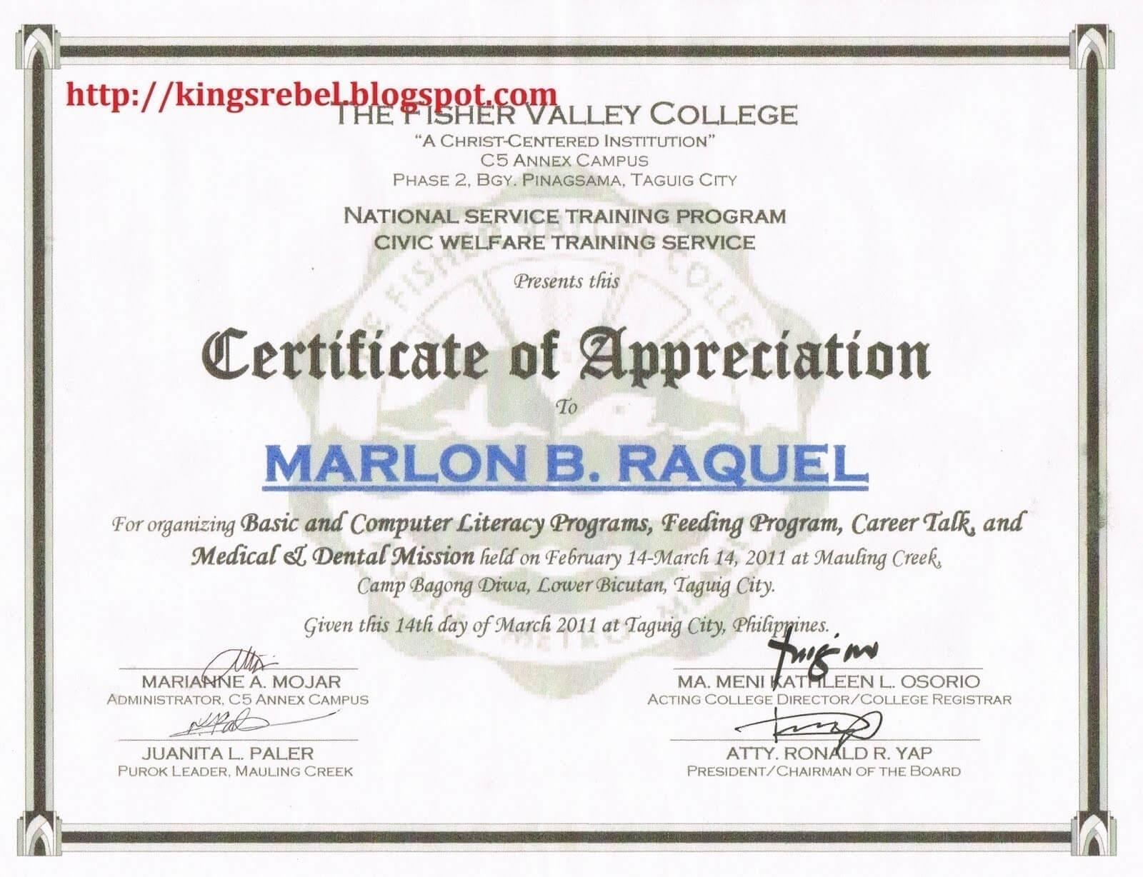 Sample Certificate Appreciation Judges For Pageant Certificate Template