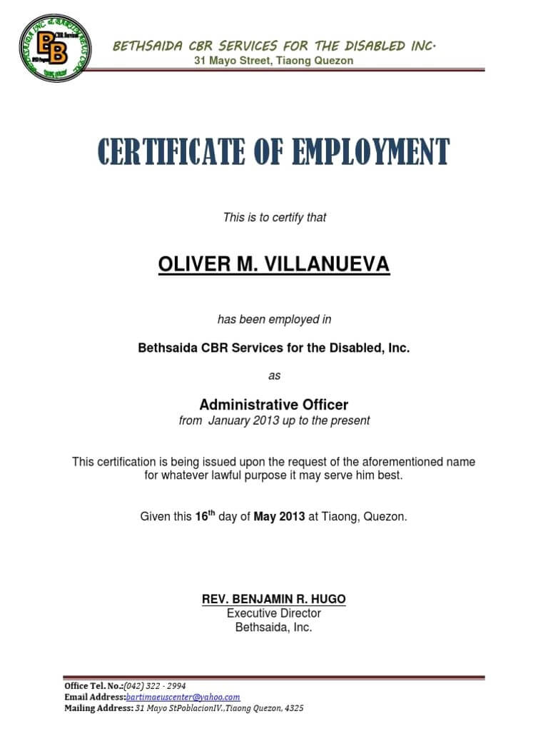 Sample Certificate Of Employment With Compensation with Template Of Certificate Of Employment