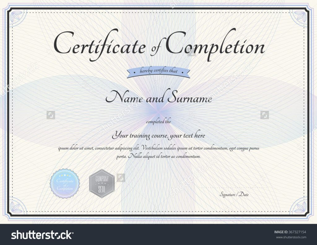 Sample Certificate Of Ojt Completion Example Template Word regarding Certificate Of Completion Free Template Word