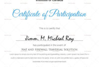Sample Certificate Of Participation Template in Templates For Certificates Of Participation