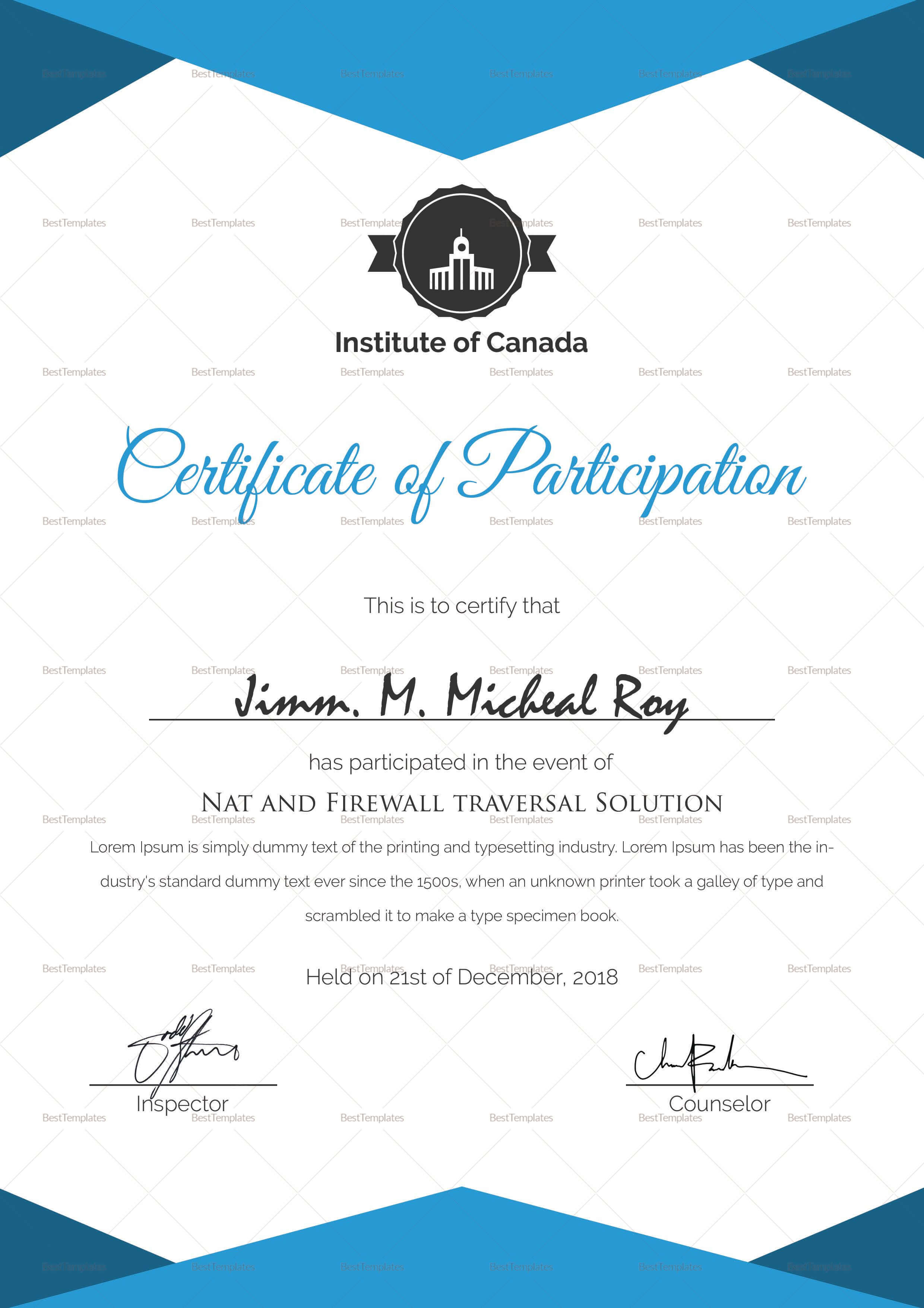 Sample Certificate Of Participation Template | Searchere Pertaining To Sample Certificate Of Participation Template
