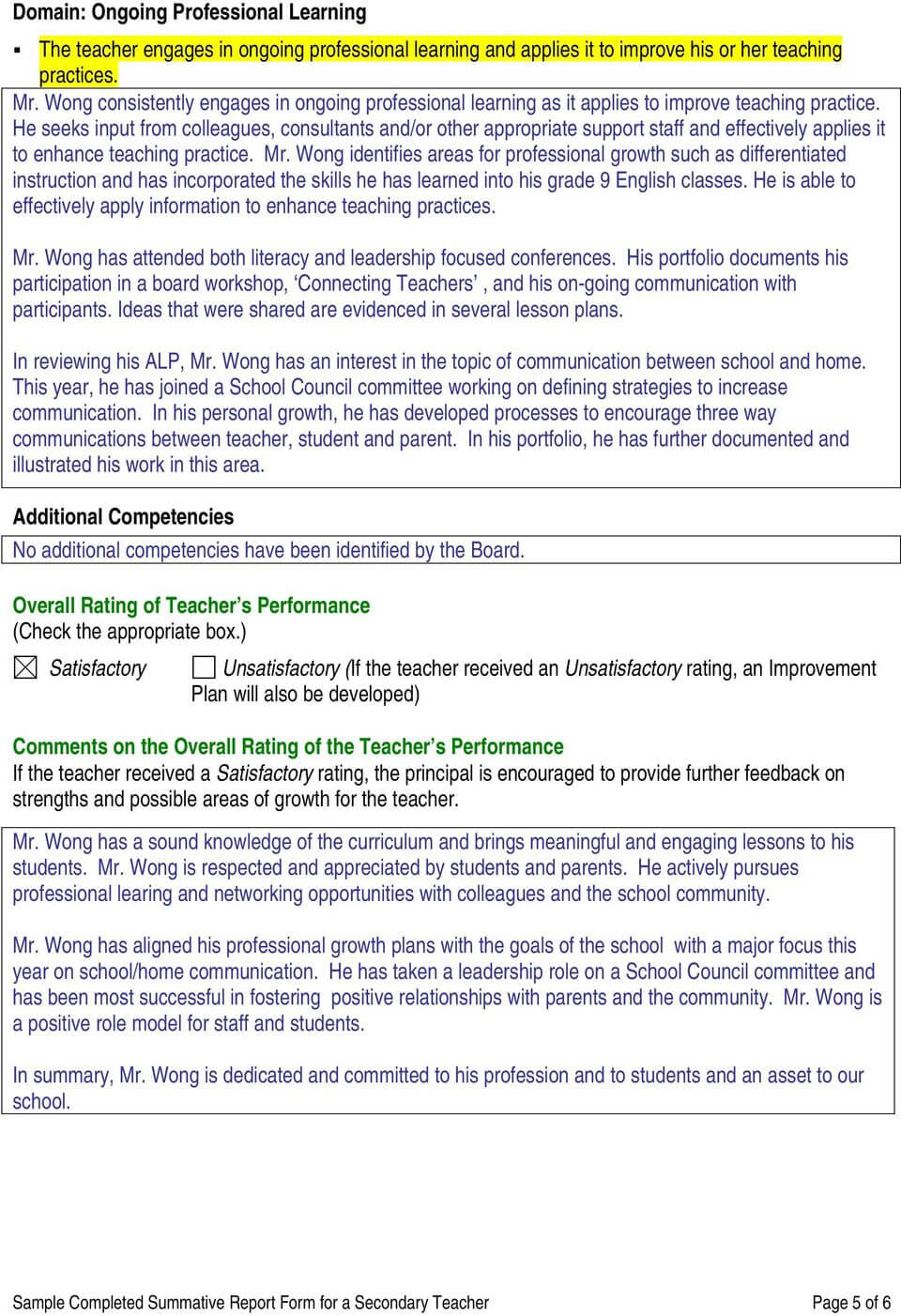 Sample Completed Summative Report Form For A Secondary in Pupil Report Template