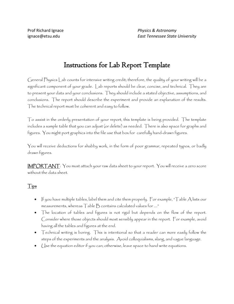 Sample Lab Report - Faculty - East Tennessee State University throughout Physics Lab Report Template
