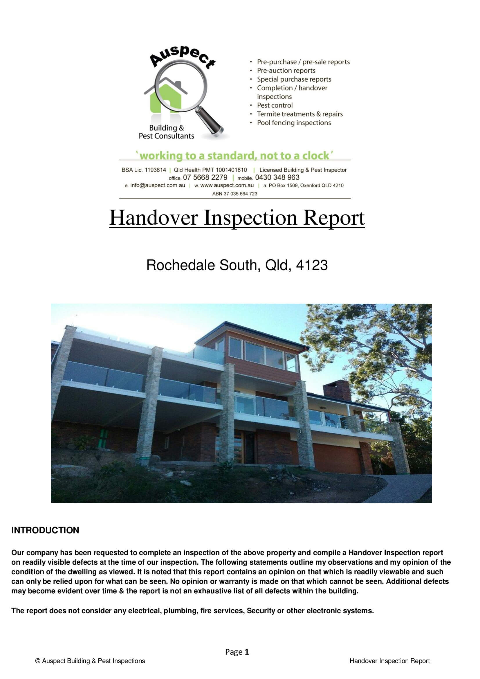 Sample Reports · Auspect Home Inspections throughout Pre Purchase Building Inspection Report Template