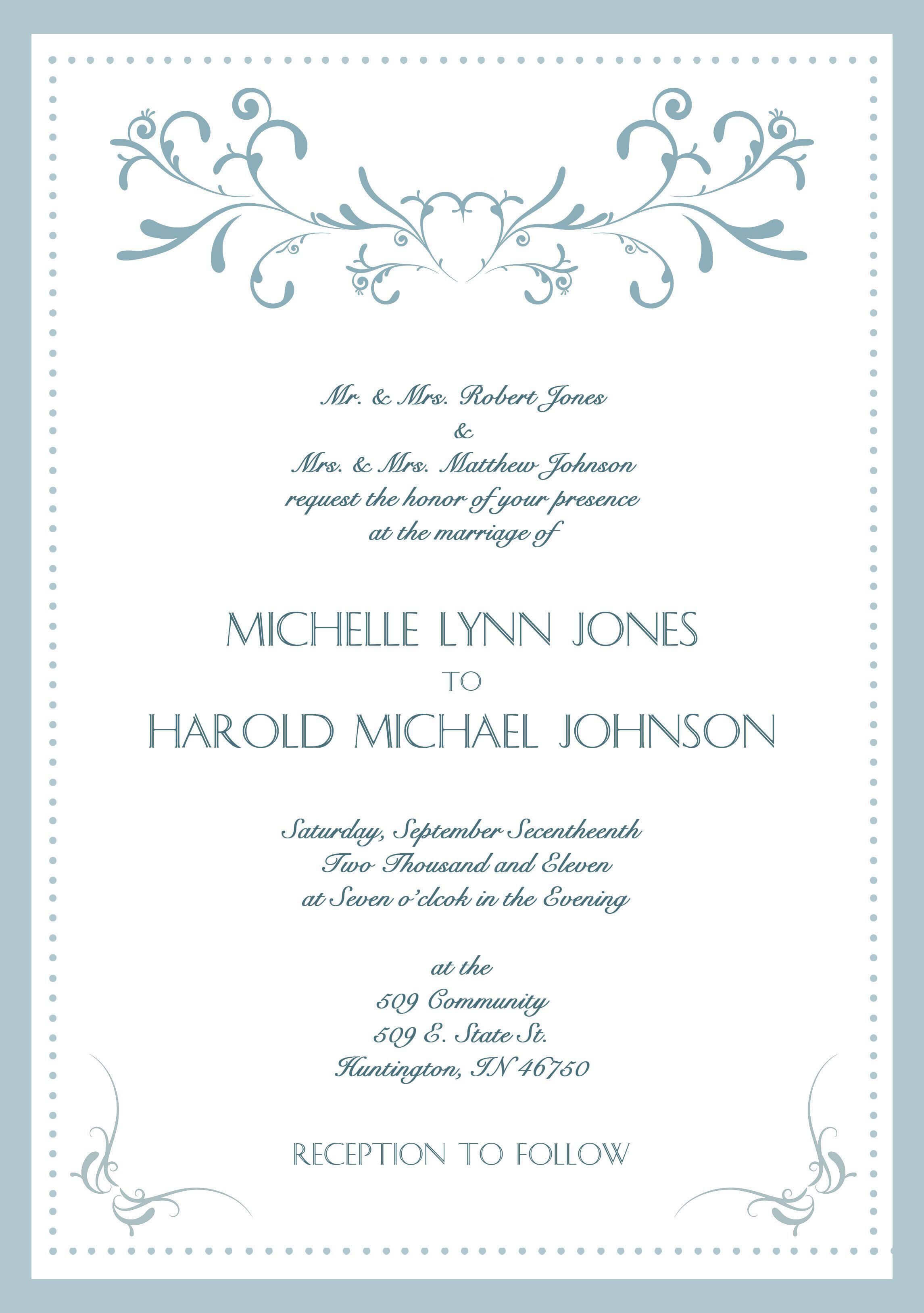 Sample-Wedding-Invitation-Cards-In-English | Wedding in Sample Wedding Invitation Cards Templates