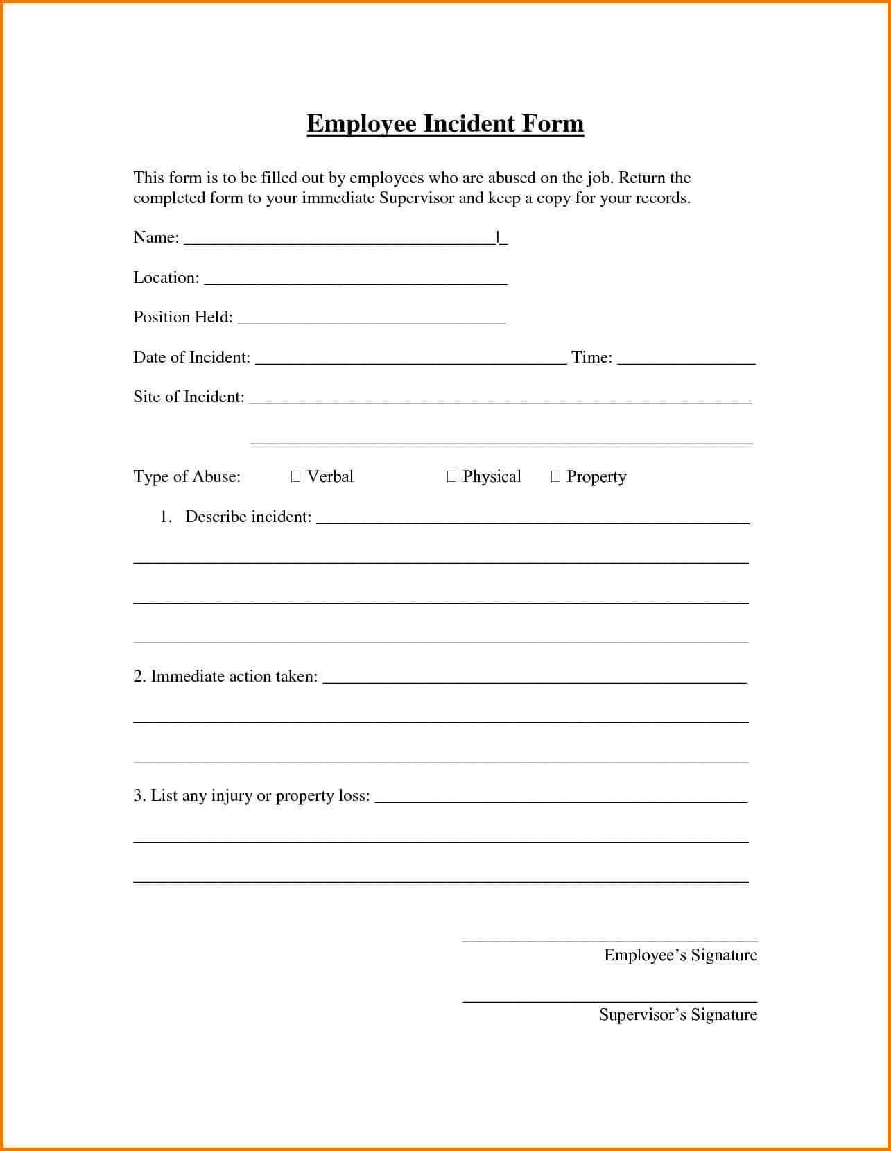 Samples Of Incident Reports For Employees And Sample Of Within Incident Report Template Uk
