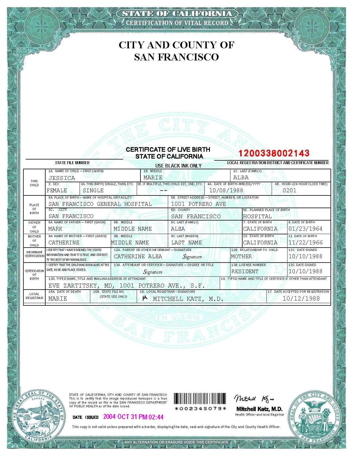 San Francisco Birth Certificate Template | Birth Certificate Regarding Fake Birth Certificate Template