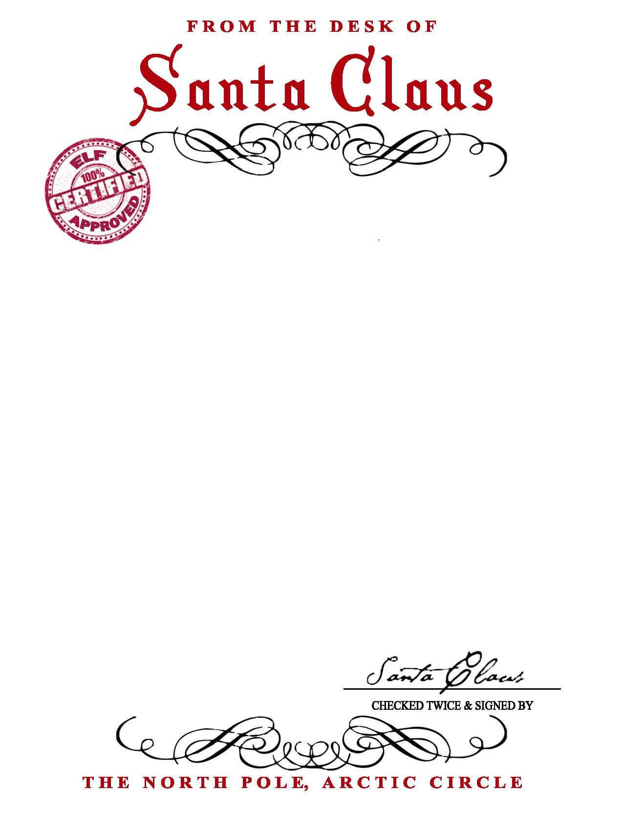 Santa Claus Letterhead.. Will Bring Lots Of Joy To Children Throughout Letter From Santa Template Word