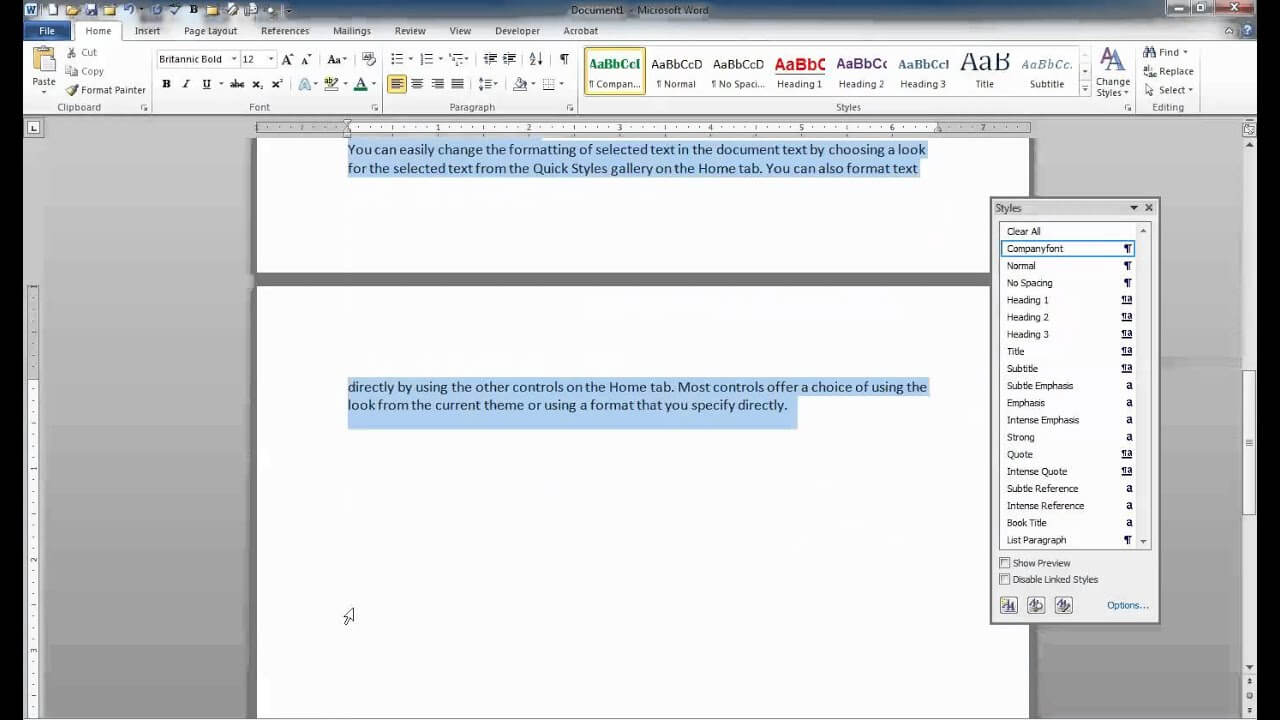 Saving Styles As A Template In Word with regard to Change The Normal Template In Word 2010