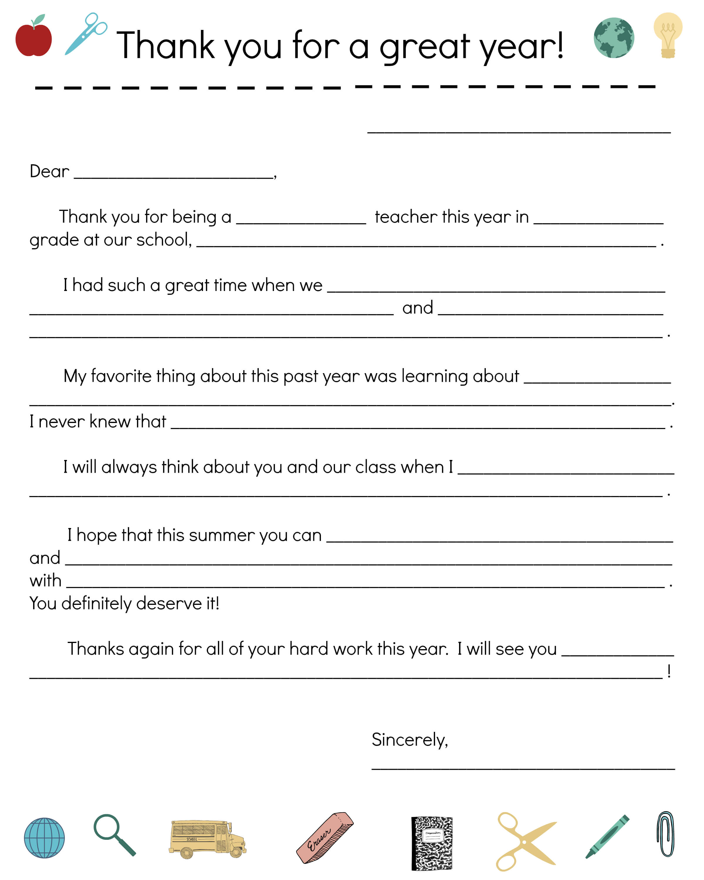 Say Thanks To Teachers With A Fill-In Note From Your Child regarding Thank You Card For Teacher Template