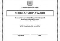 Scholarship Award Certificate Template | Scholarship with Present Certificate Templates