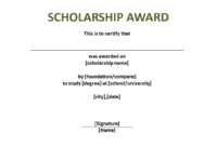 Scholarship Award Certificate Template | Templates At with regard to Scholarship Certificate Template