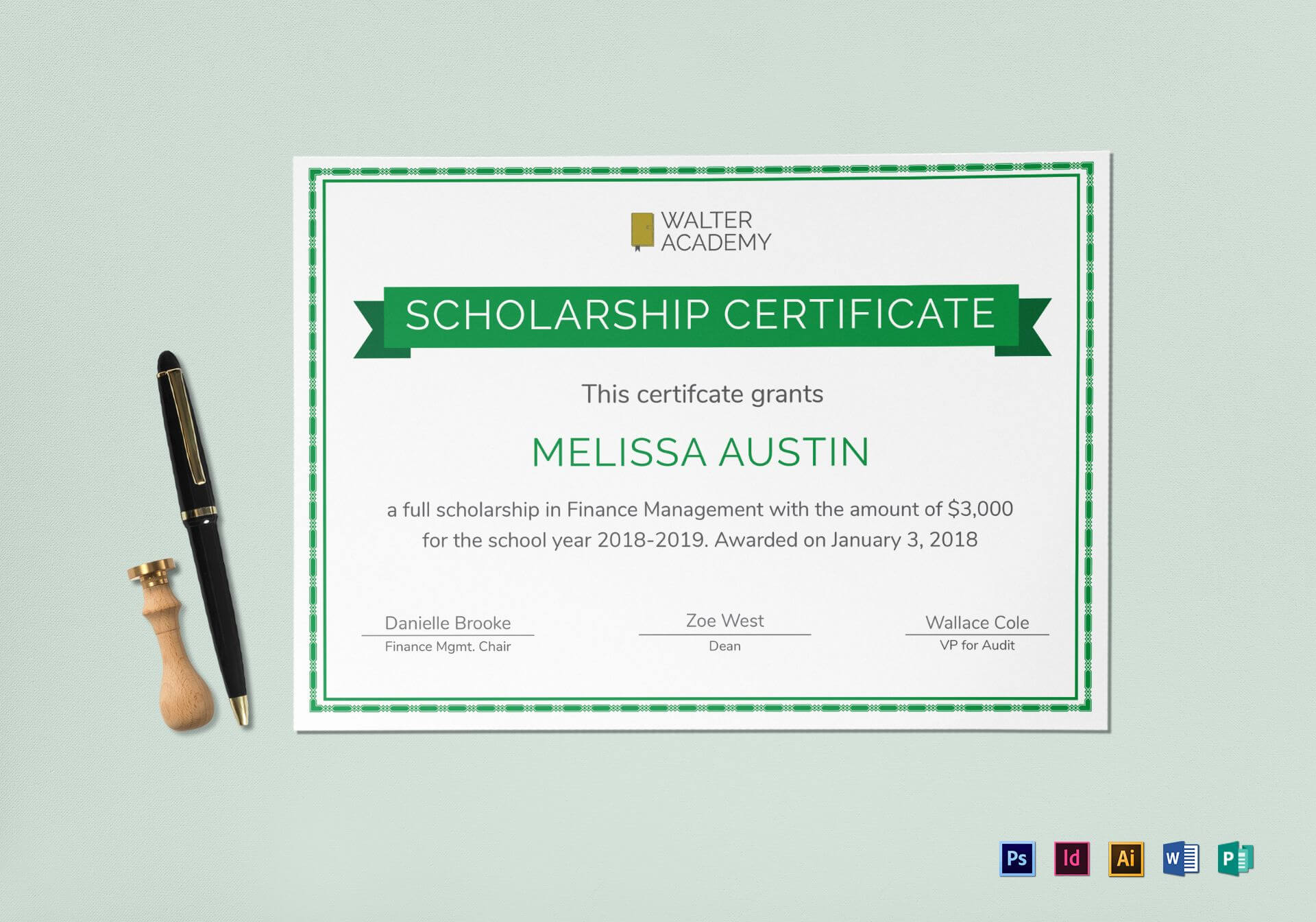 Scholarship Certificate Template Inside Indesign Certificate Template