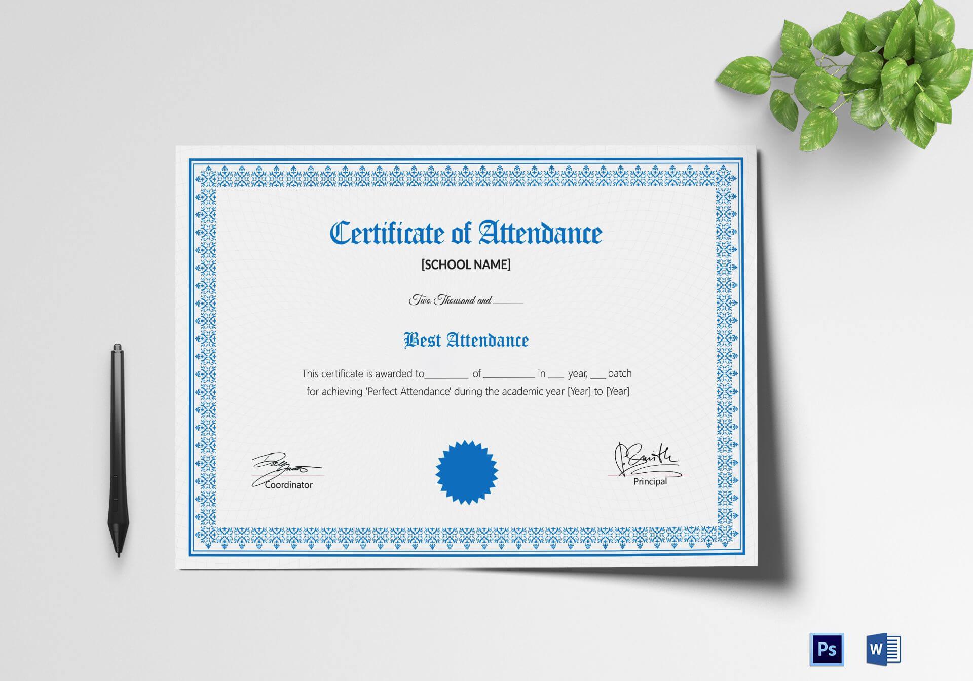 School Attendance Certificate Template With Mock Certificate Template