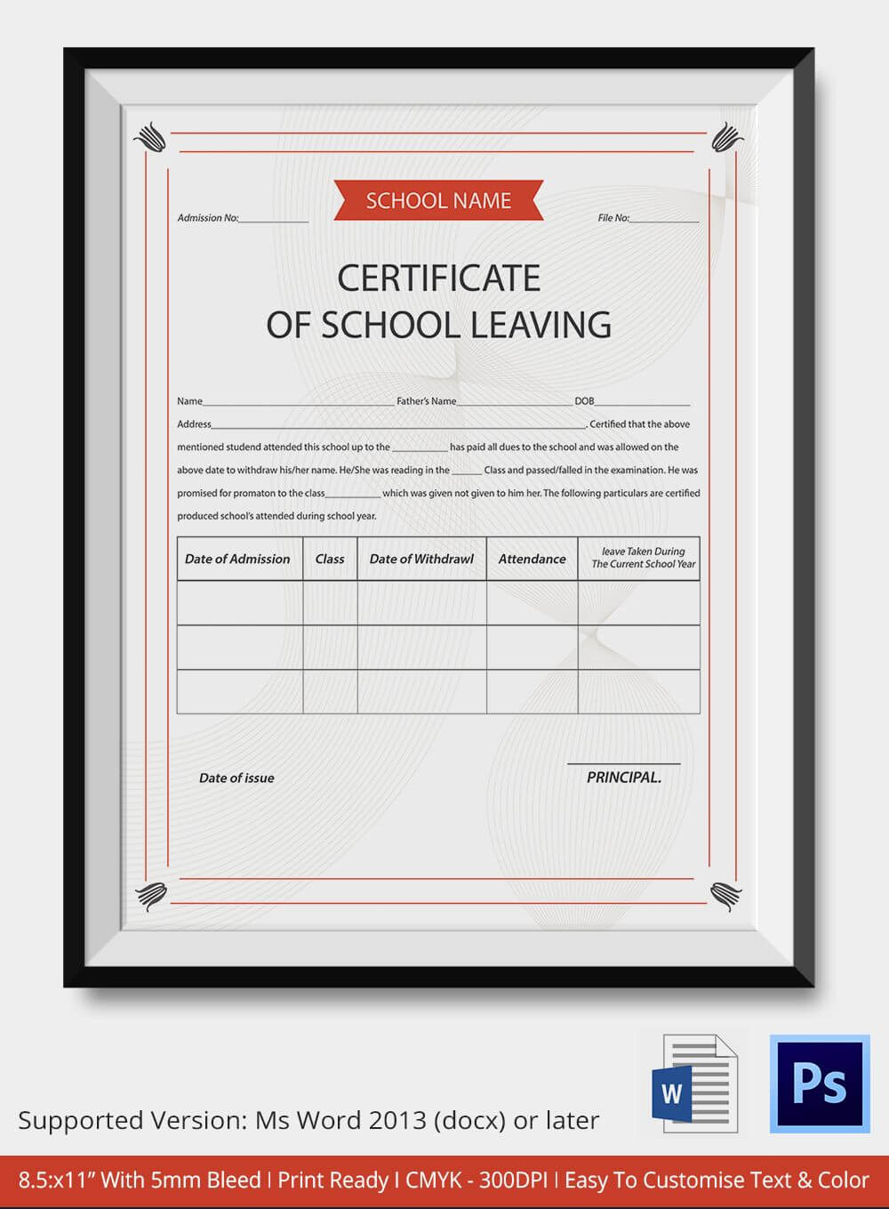 School Leaving Certificate Template | Certificate Templates Pertaining To School Leaving Certificate Template