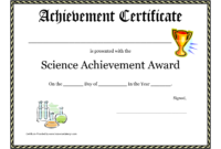 Science Fair Award Certificate Award Certificate Download in Certificate Of Achievement Template For Kids