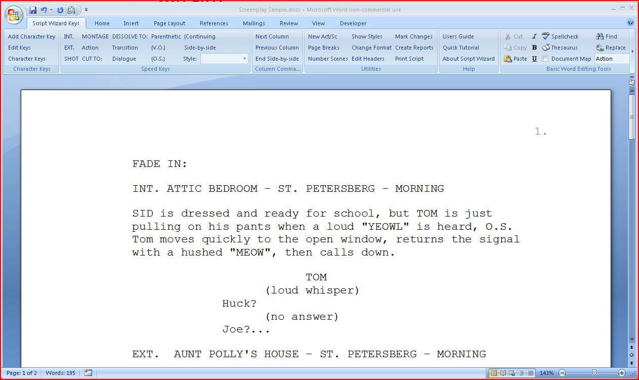 Script Wizard Software : Scriptwizard Screenplay Formatting Throughout Microsoft Word Screenplay Template