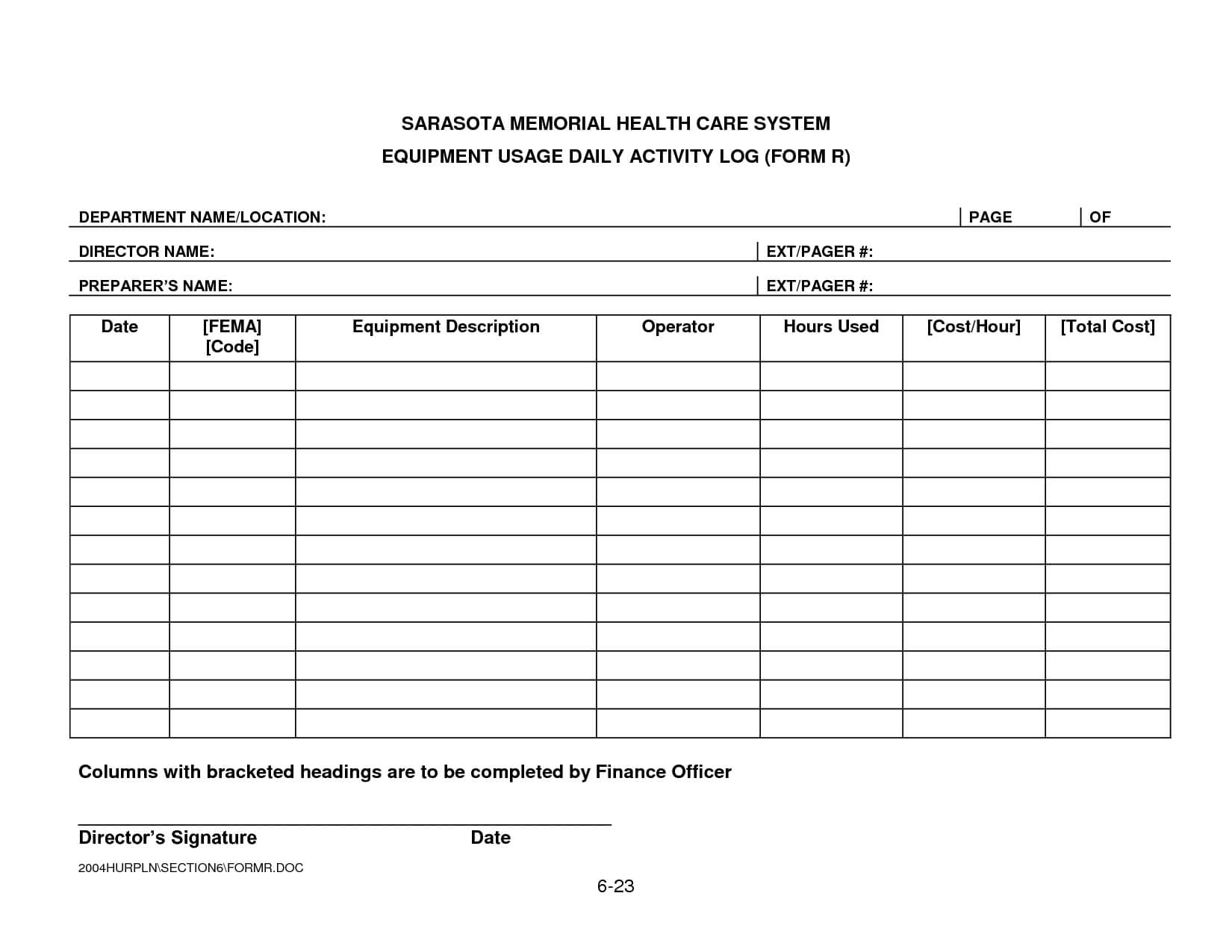Security Daily Activity Log Template | Smhcs-Equipment Usage throughout Daily Activity Report Template